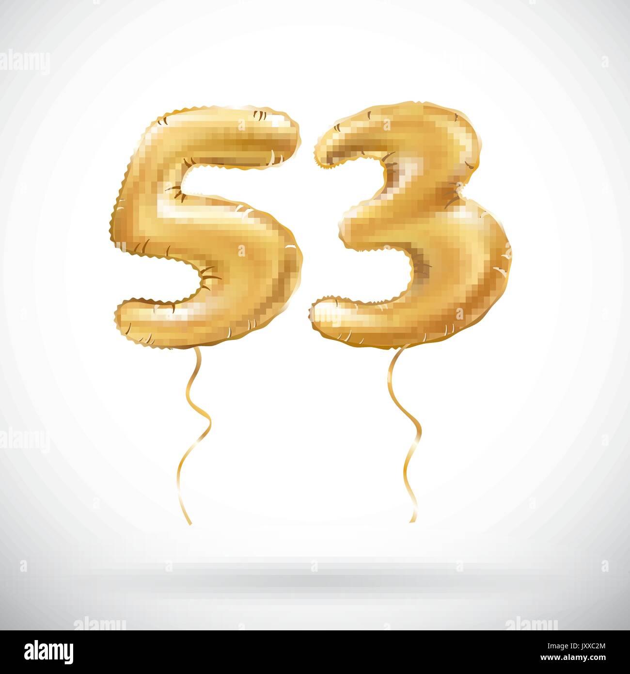 Vector Golden Number 53 Fifty Three Metallic Balloon