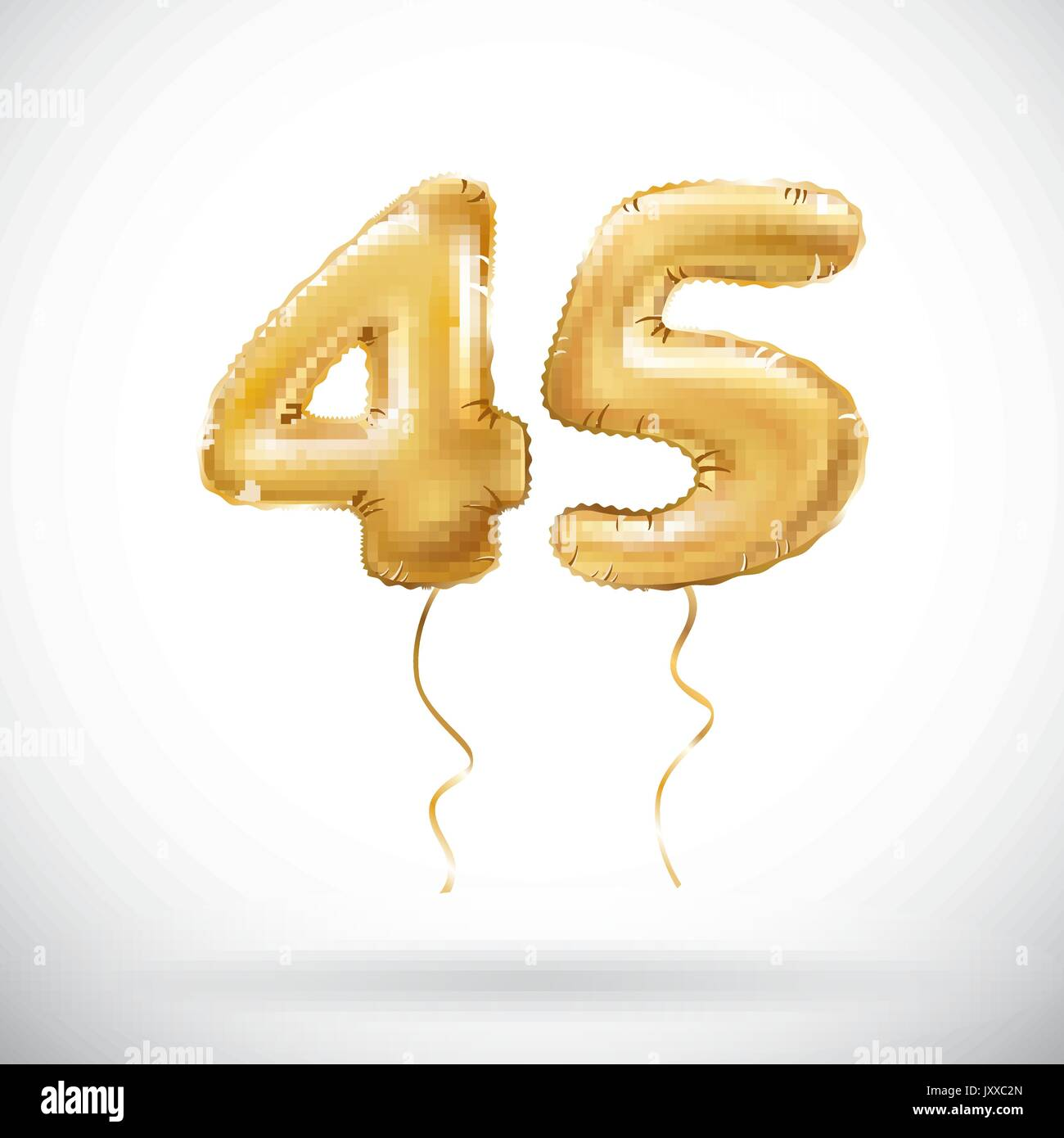 Vector Golden Number 45 Forty Five Metallic Balloon Party Decoration Balloons Anniversary Sign For Happy Holiday Celebration Birthday Carn