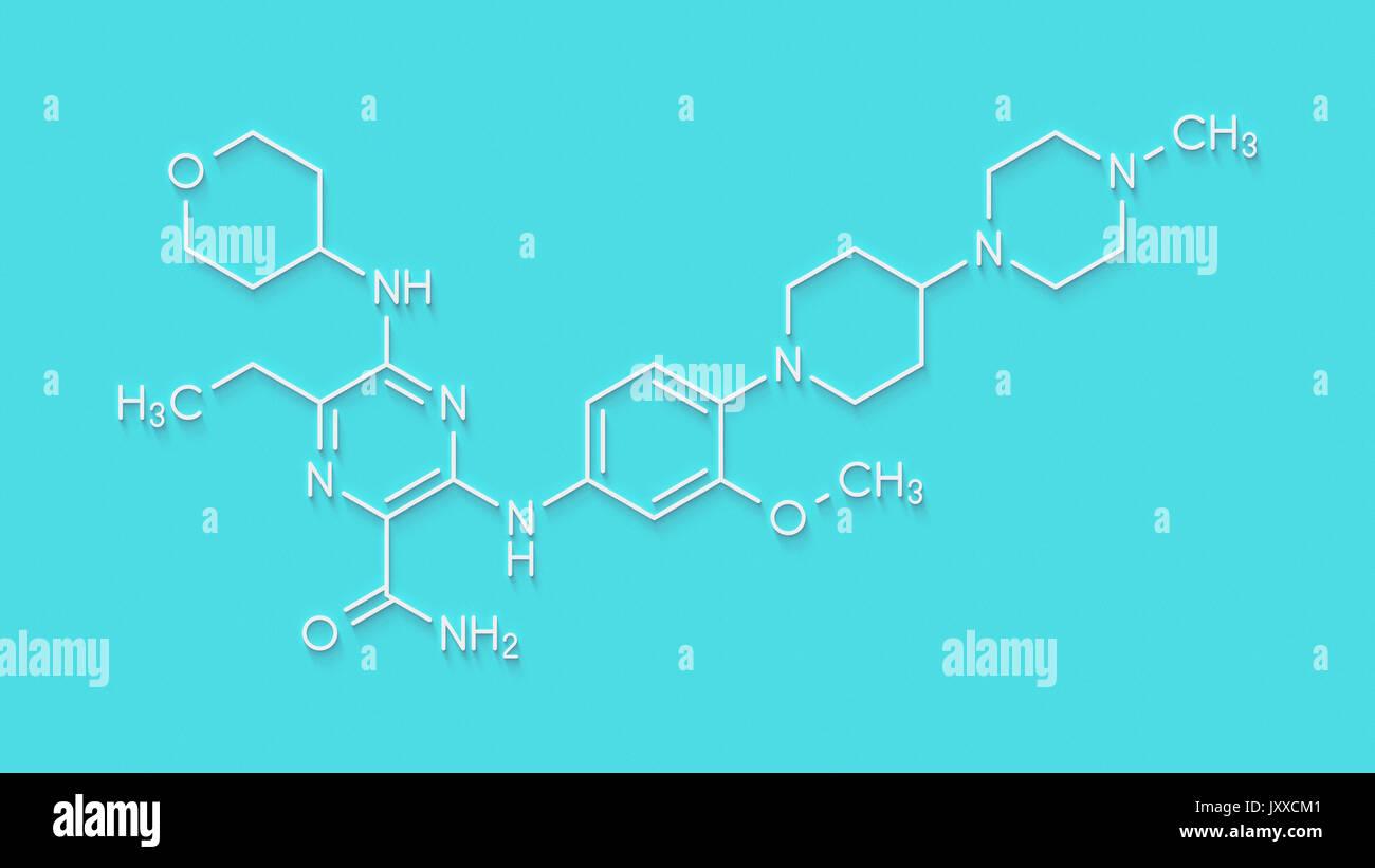 Gilteritinib cancer drug molecule (kinase inhibitor). Skeletal formula. - Stock Image