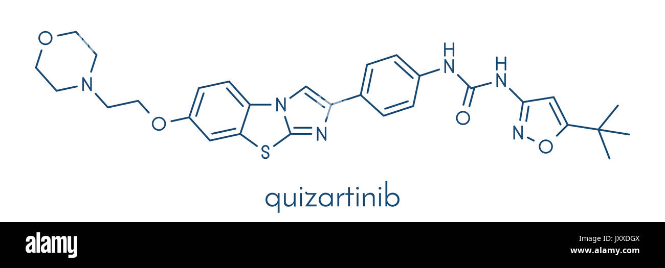 Quizartinib cancer drug molecule (kinase inhibitor). Skeletal formula. - Stock Image