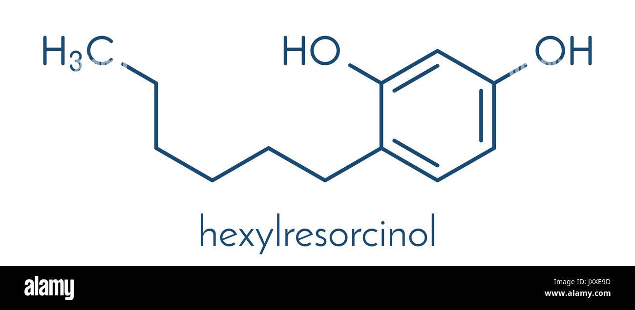 Hexylresorcinol molecule. Has anaesthetic, antiseptic and anthelmintic properties. Skeletal formula. - Stock Image