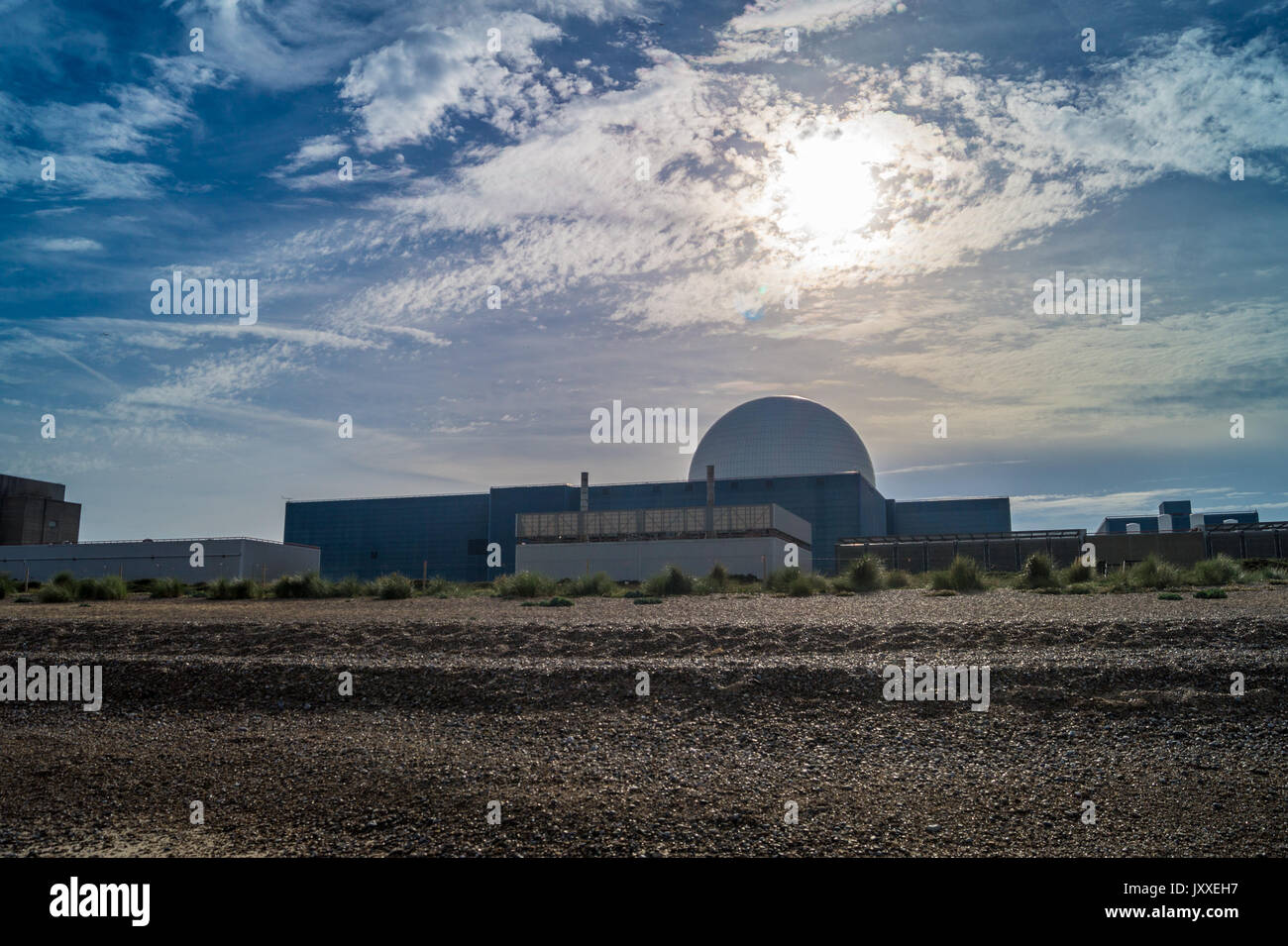 Dome of Sizewell B PWR nuclear reactor, Sizewell Beach, Suffolk, England - Stock Image