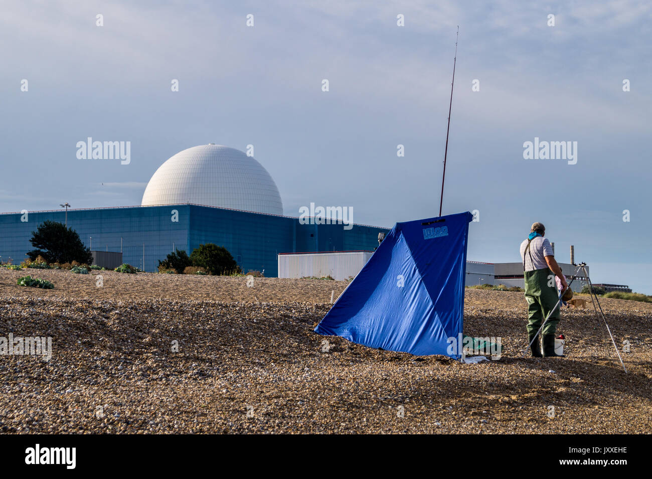 Sea anglers on the beach in front of Sizewell B PWR nuclear reactor, Sizewell Beach, Suffolk, England - Stock Image