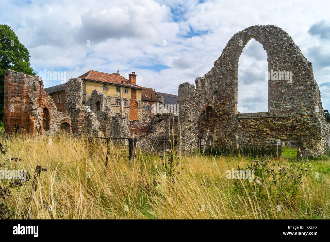 Ruins of Augustinian Premonstratensian Leiston Abbey, 1363, Leiston, Suffolk, England - Stock Image