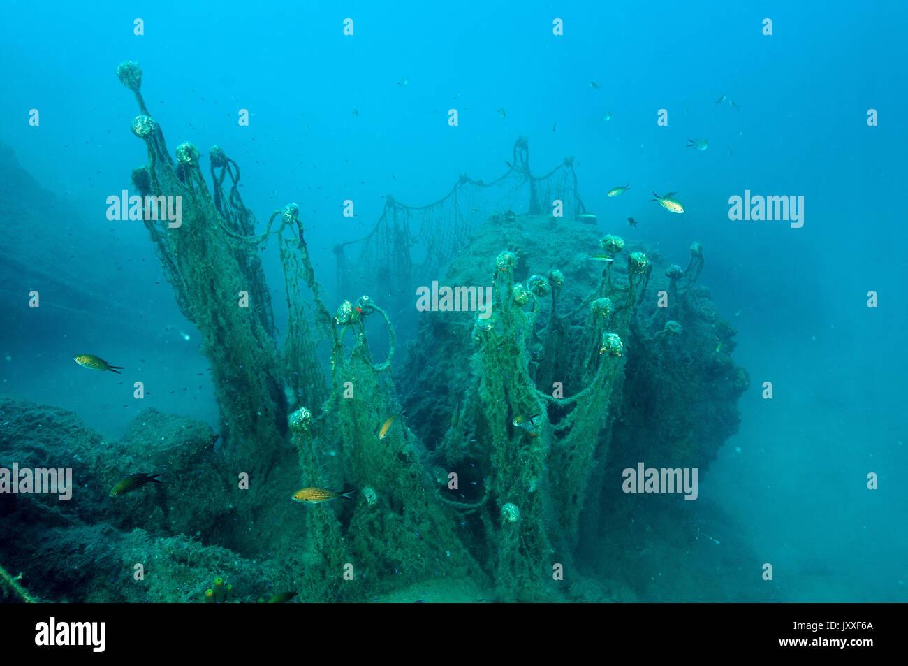 Ghost nets, lost fishing gear in Gokova Bay Marine Protected Area Turkey - Stock Image