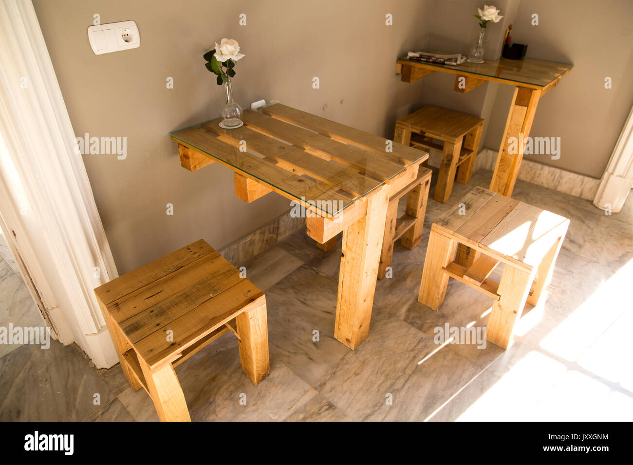 Hotel Bar Furniture Made From Wooden Pallets, Jerez De La Frontera, Spain    Stock