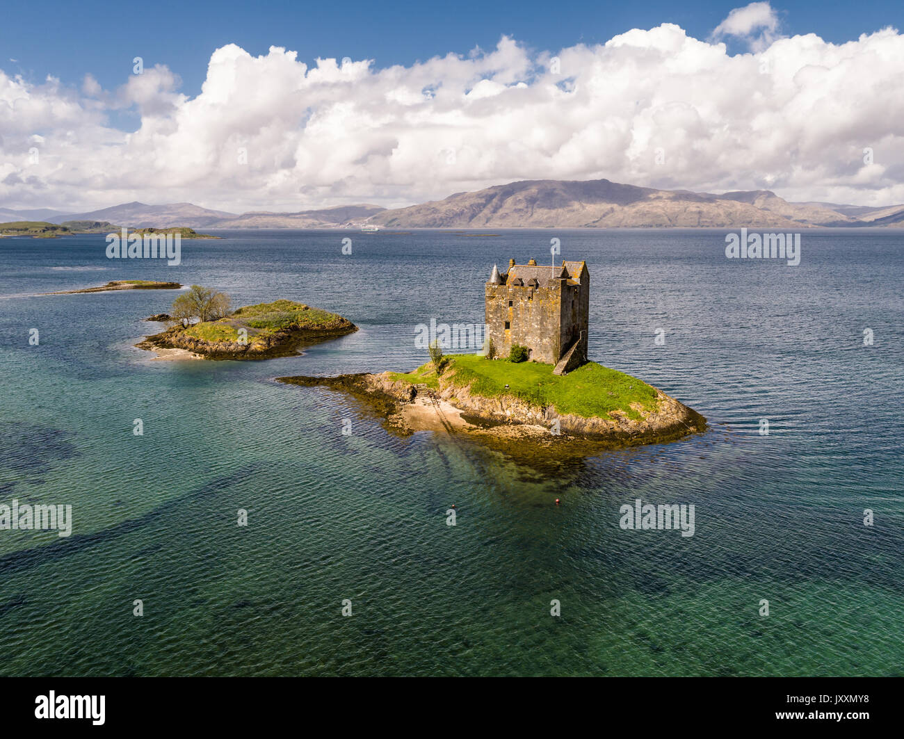 Aerial of the historic castle Stalker in Argyll - Stock Image