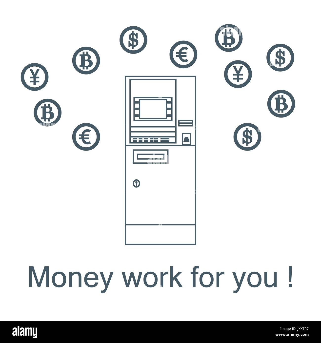 Stylized icon of a colored automatic teller machine or ATM and different types of currency and Bitcoins. Design for banner, poster or print. - Stock Image