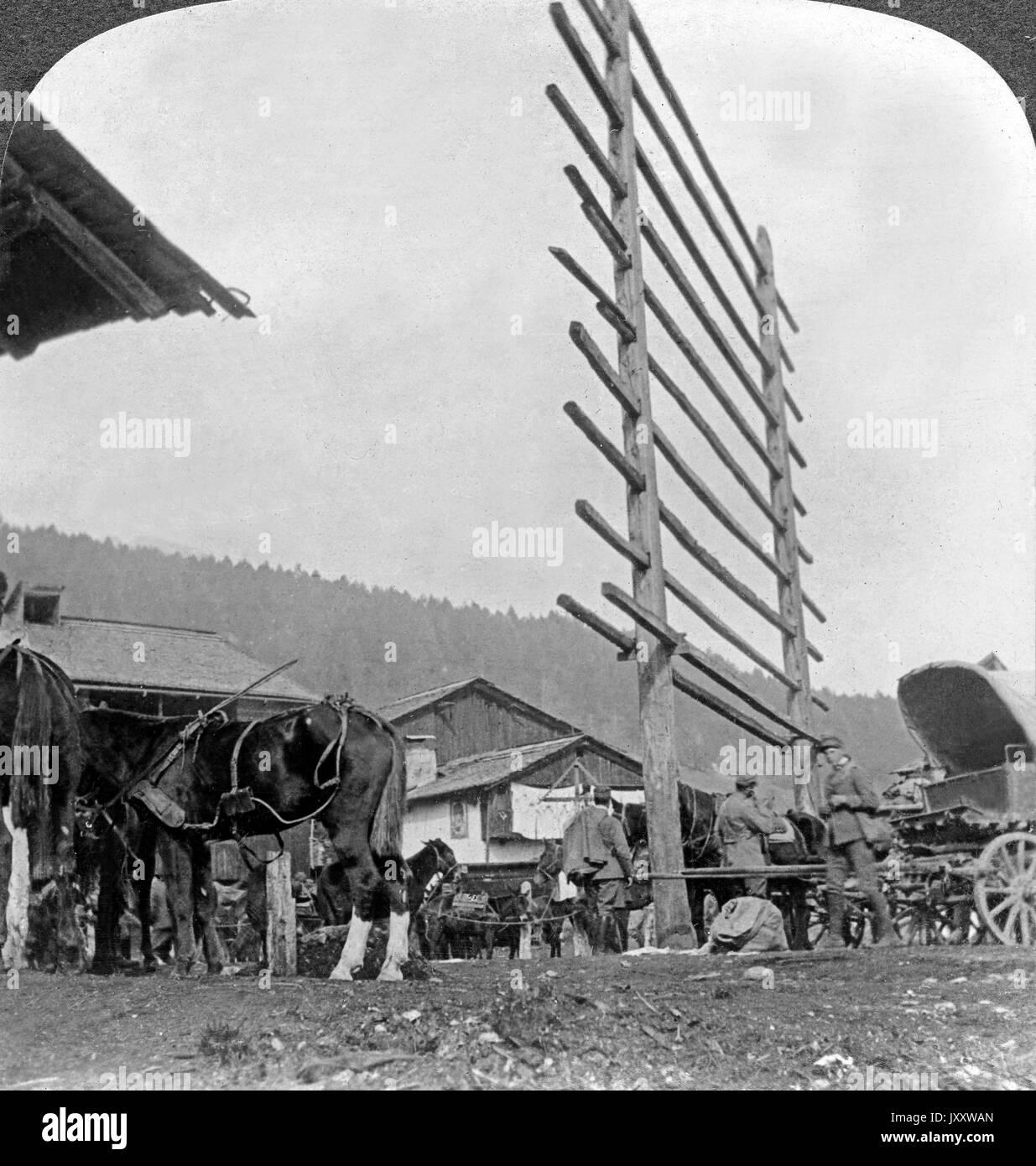 Ein italienisches Basisvorratsdepot, Italien 1916. An Italian base supply depot, Italy 1916. Stock Photo