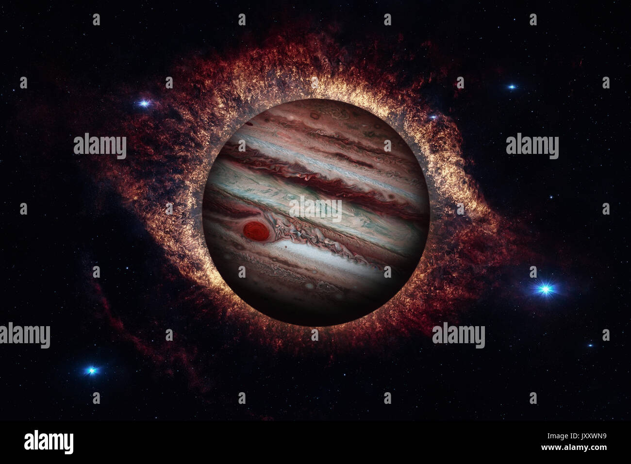 Solar System - Jupiter. It is the fifth planet from the Sun and the largest in the Solar System. Its a giant planet with a mass one-thousandth that of - Stock Image