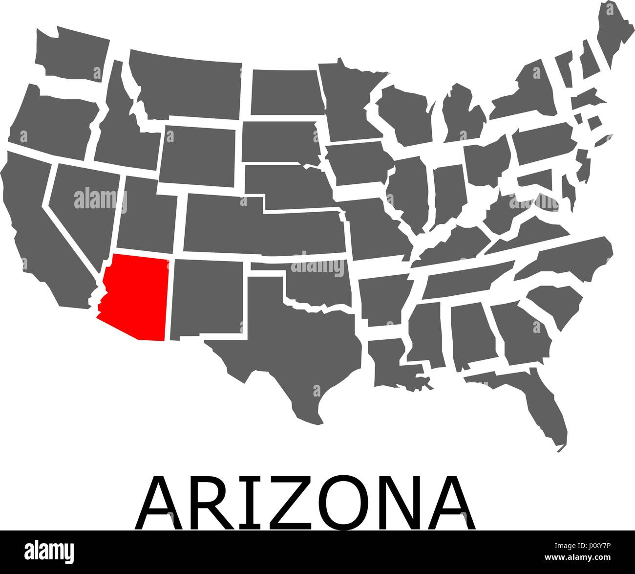 Arizona On A Map Of Usa.Bordering Map Of Usa With State Of Arizona Marked With Red Color