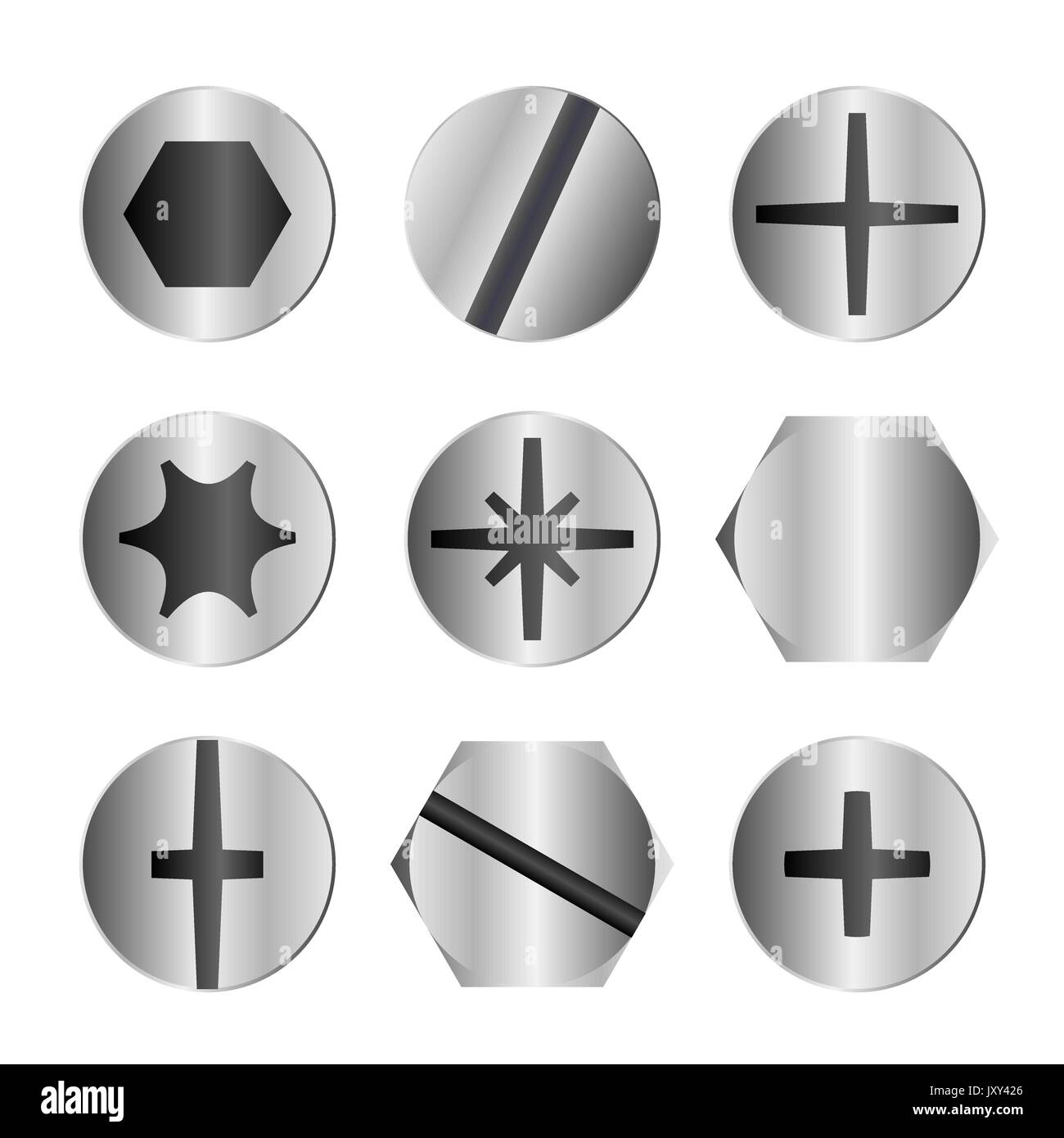 Bolt Head Types >> Different Metal Bolt And Screw Head Types Stock Vector Art