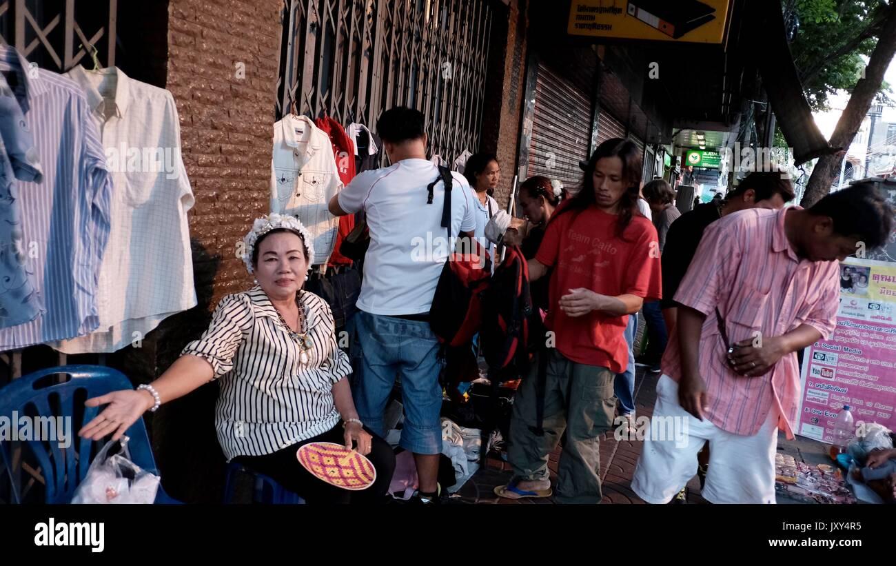 Lady Street Vendor on Charoen Krung Road Chinatown Bangkok Thailand - Stock Image