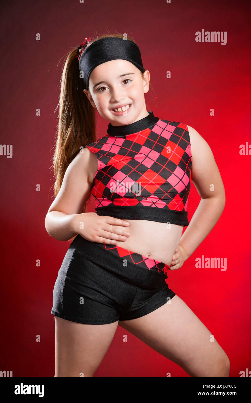 f29ca7f3 Studio portrait photograph of a 7 year old young white female dancer  wearing dance clothes