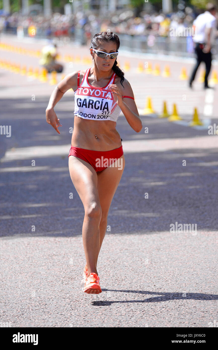 Kimberly Garcia of Peru competing in the IAAF World Athletics Championships 20k walk in The Mall, London. Space Stock Photo