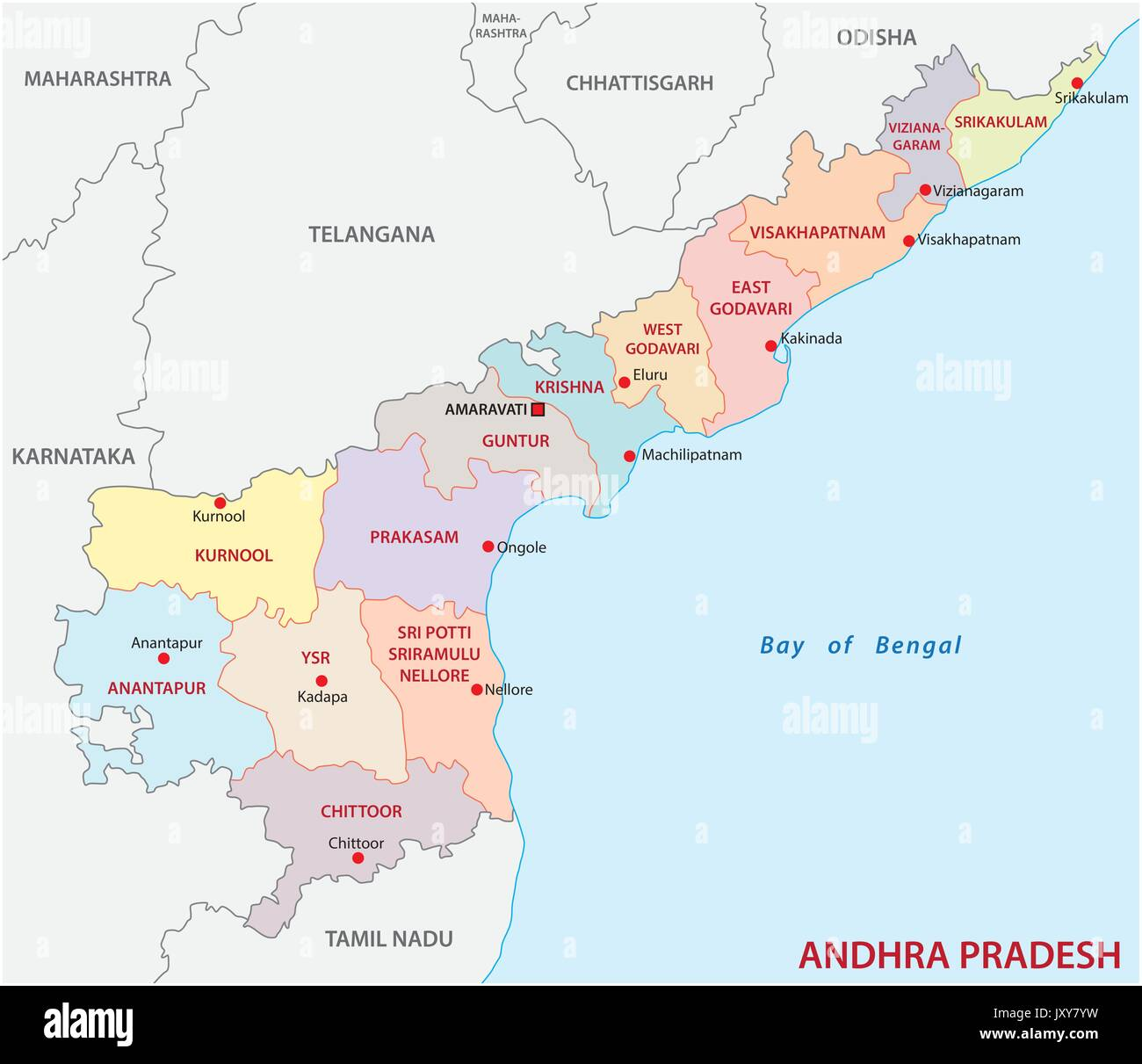 Ap Political Map Andhra Pradesh administrative and political map, India Stock