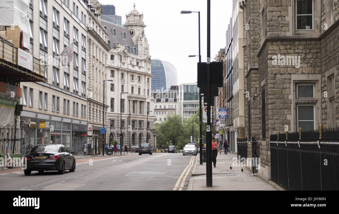 View of the street in Moorgate, City of London, UK. - Stock Image