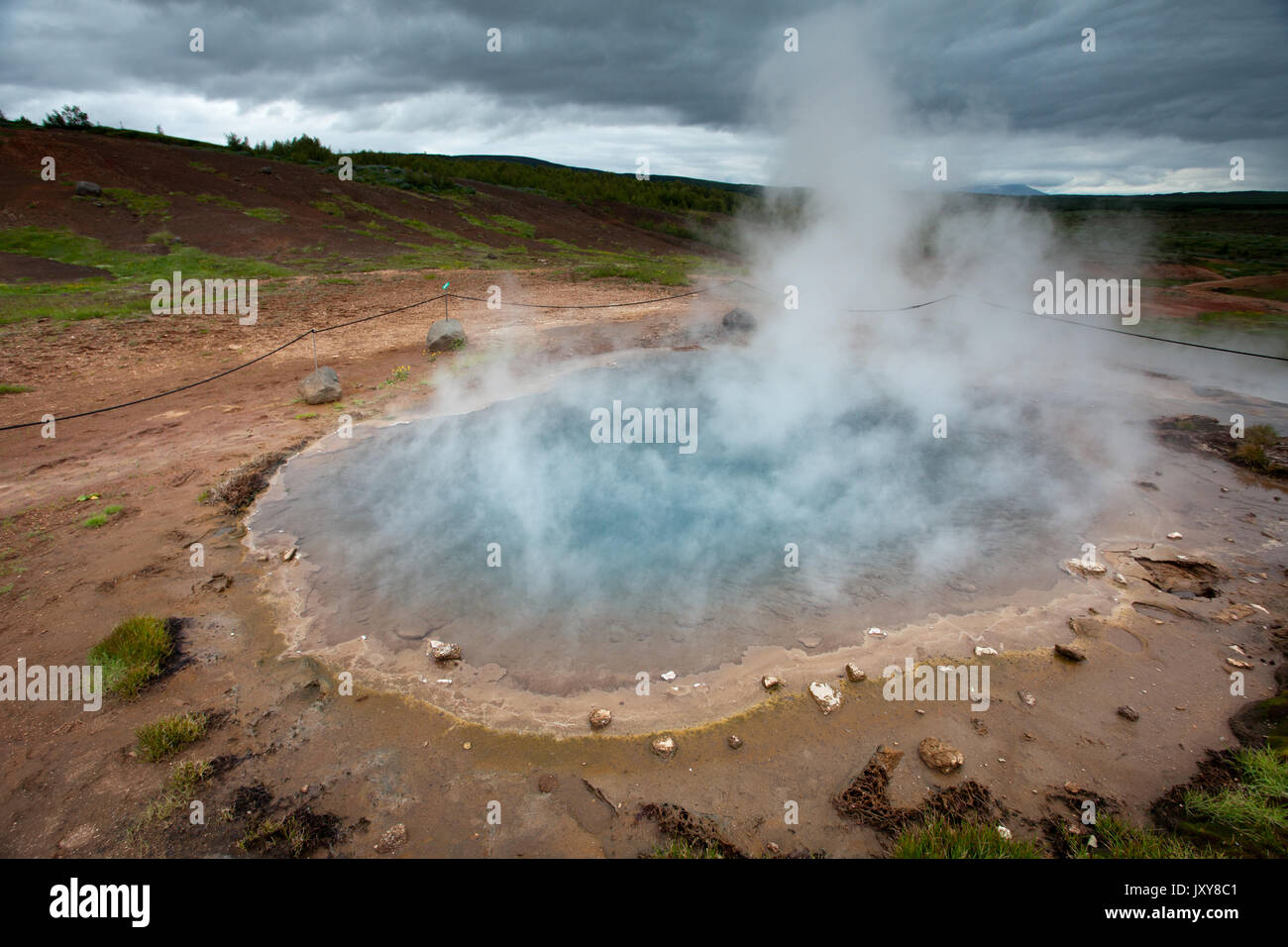 Boiling Pool close to Strokkur - Stock Image