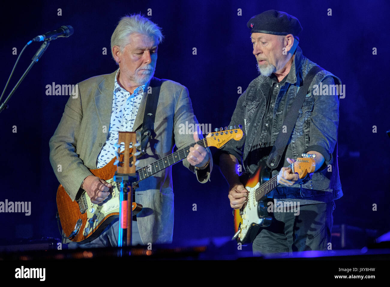 Simon Nicol of Fairport Convention and Richard Thompson performing at Fairport's Cropredy Convention, Banbury, Oxfordshire, England, August 12, 2017 - Stock Image