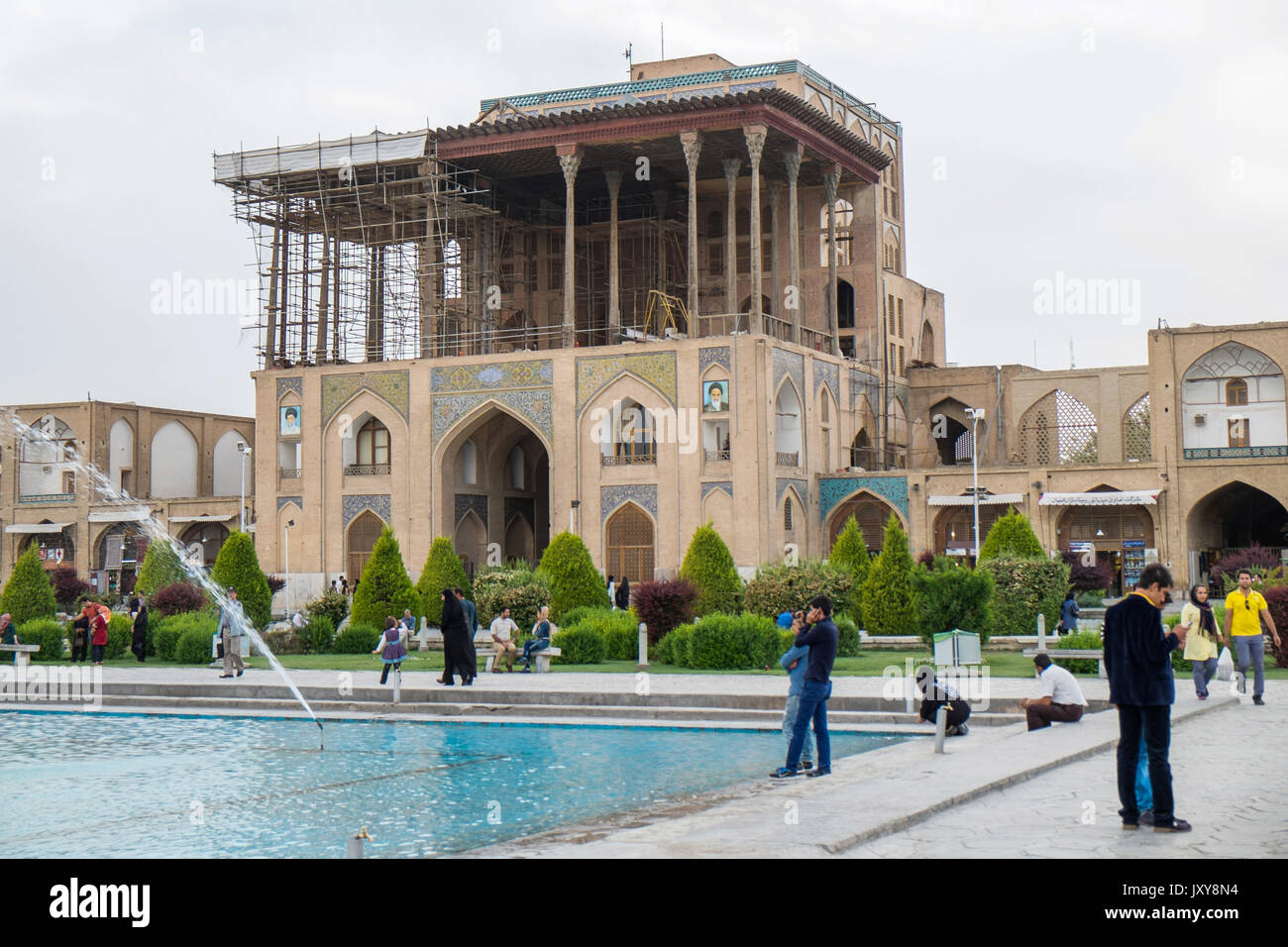 Iran: the Ali Qapu or Great Persian Palace viewed from Naghsh-i Jahan Square (Imam Square or Shah Square) in Isfahan Stock Photo