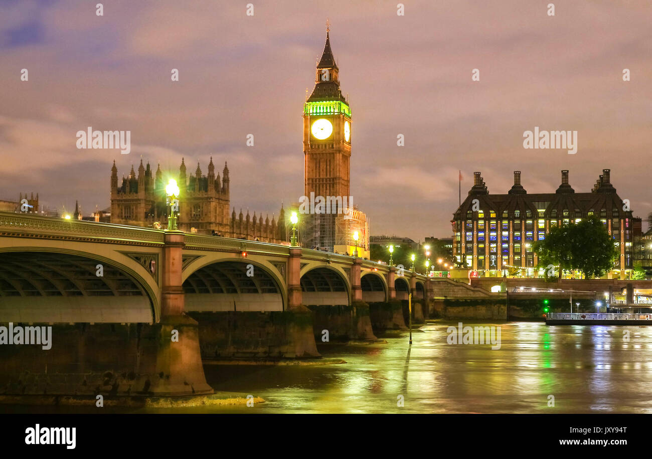 The Big Ben and Westminster Bridge in London. - Stock Image