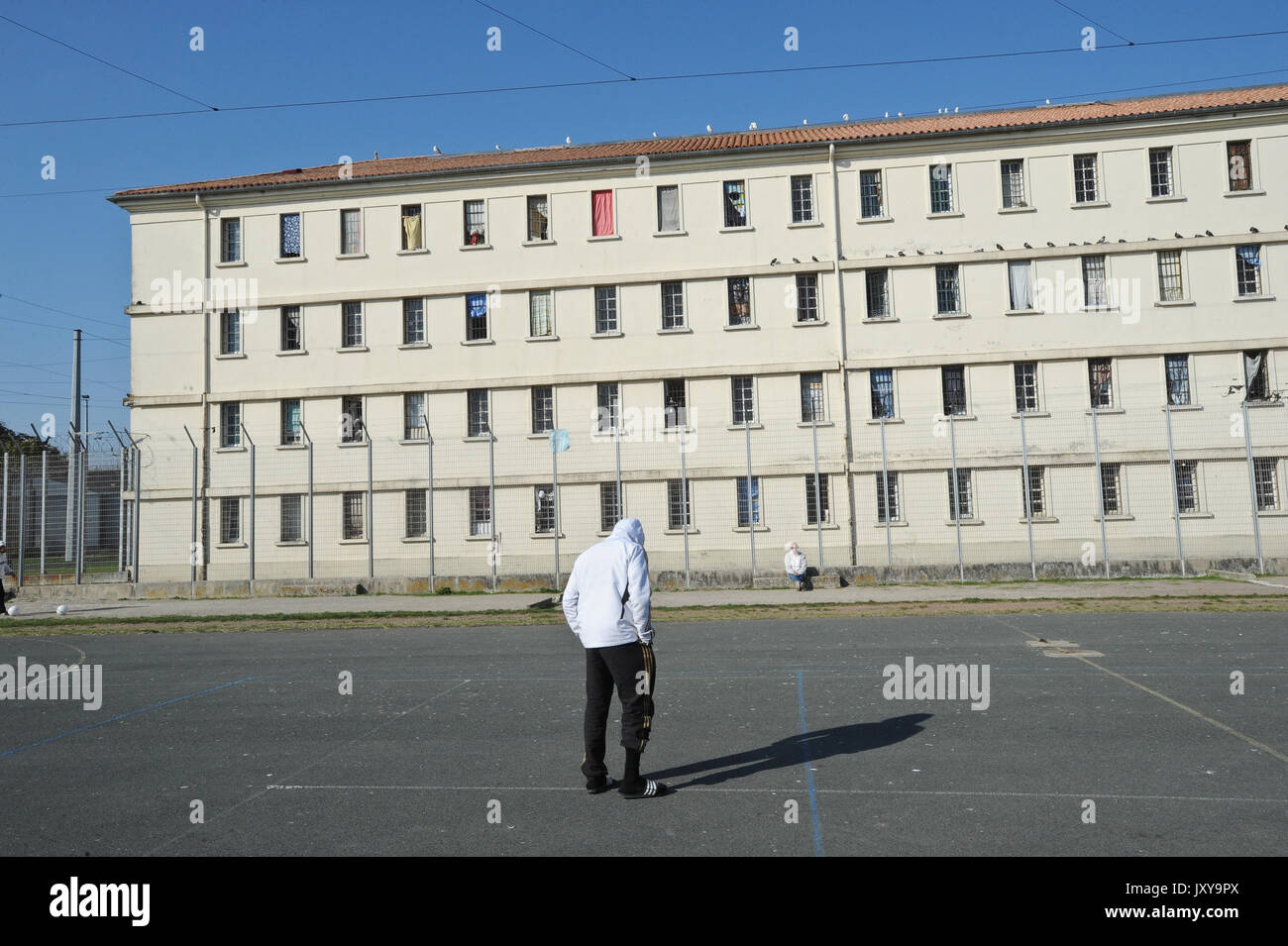 Saint-Martin-de-Re on 2015/10/02: prisoners in the courtyard of the prison - Stock Image