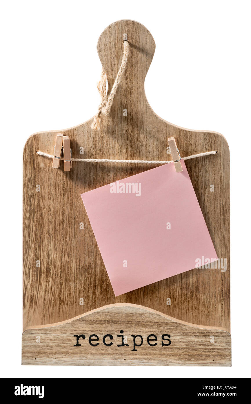 Decorative Wooden Cutting Board With A Piece Of Paper Hanging On Stock Photo Alamy