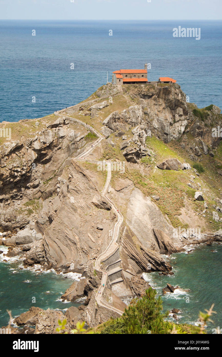 Landscape from San Juan de Gaztelugatxe, hermitage and hill, famous place in Basque country, north of Spain - Stock Image