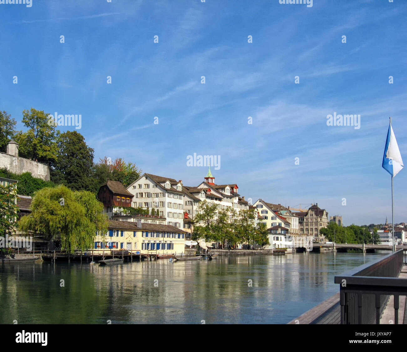 A view of the Limmat River in the center of Zurich Switzerland. - Stock Image