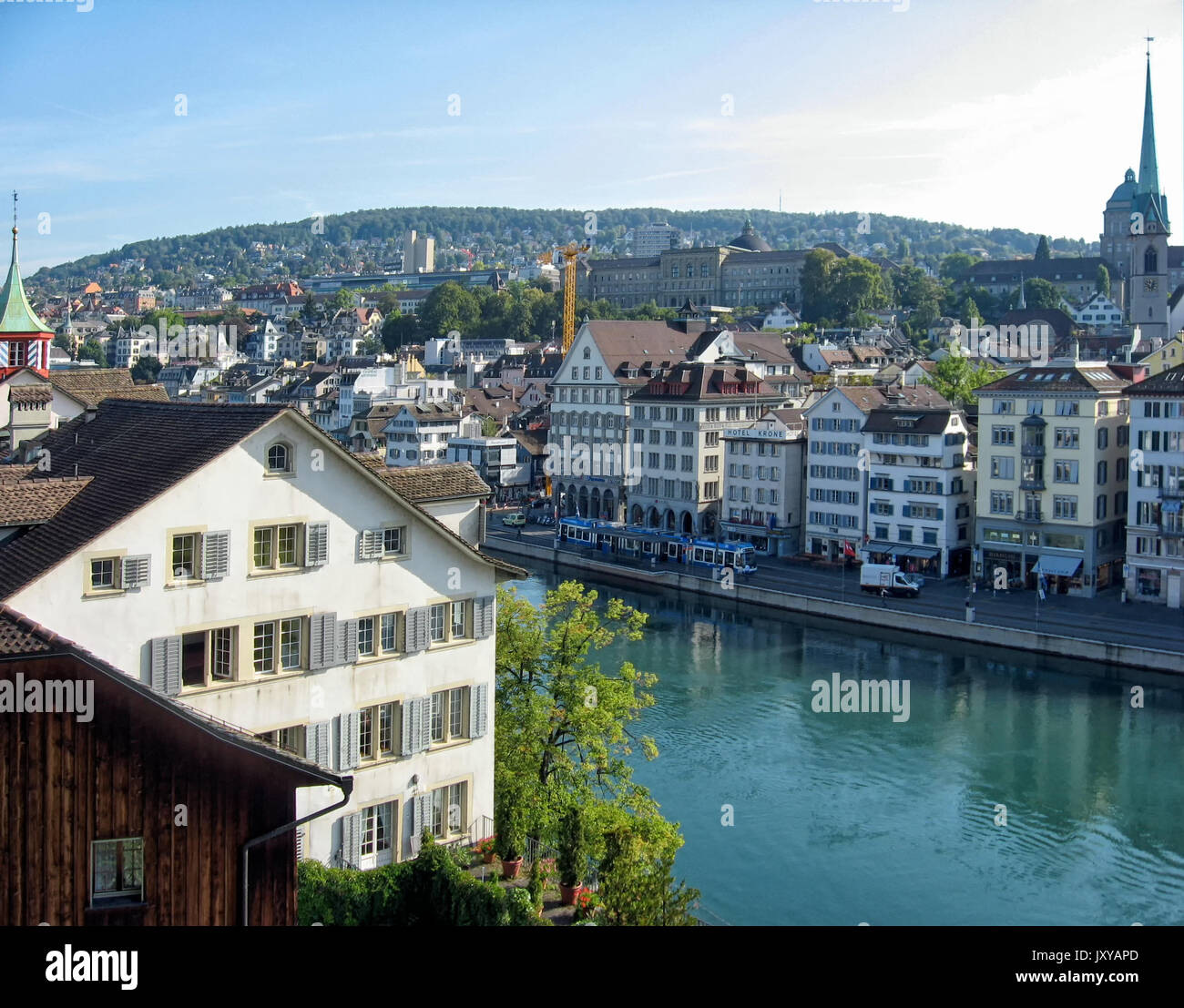 A view of the city center and the Limmat River in Zurich Switzerland from the observation deck on Lindenhof Hill. - Stock Image