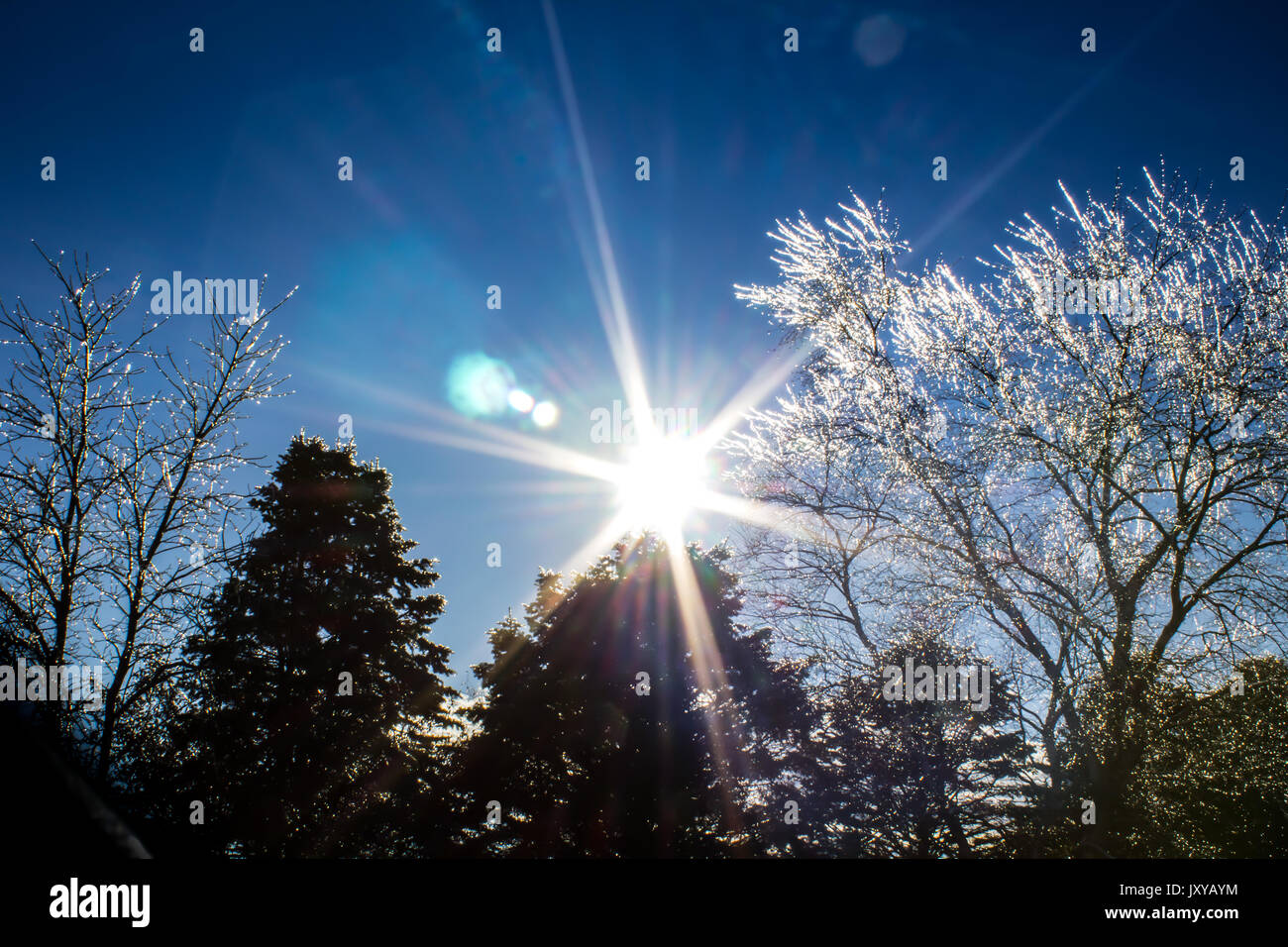 Glass-like ice in the bright sun. - Stock Image
