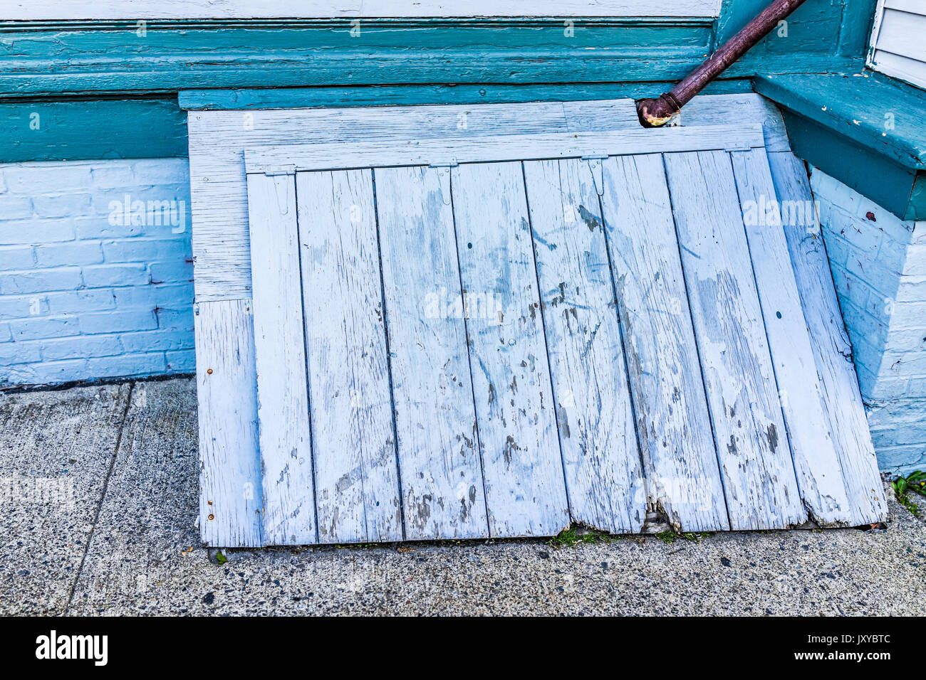 Wooden Back Door Stock Photos Images Alamy Framed Doors Over Fuse Box Blue Antique To Basement Entrance Of House In Downtown By Street Image