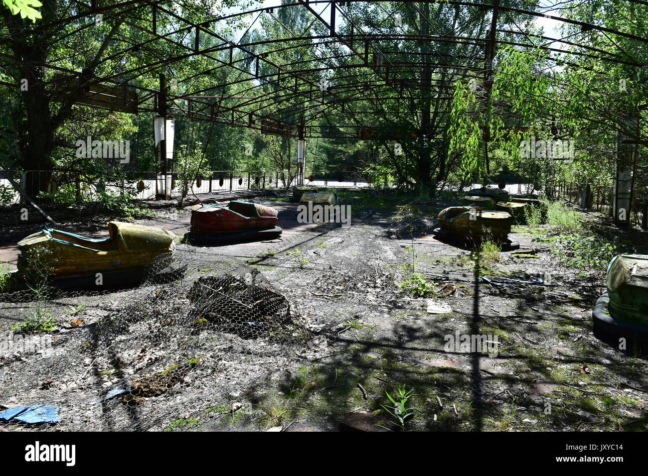Abandoned Fun fair amusement park Chernobyl exclusion zone - Stock Image