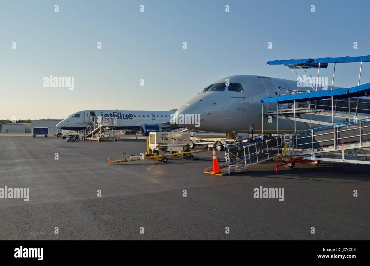 View of the Nantucket memorial Airport (ACK), a small airport on the island of Nantucket off Cape Cod in Massachusetts - Stock Image