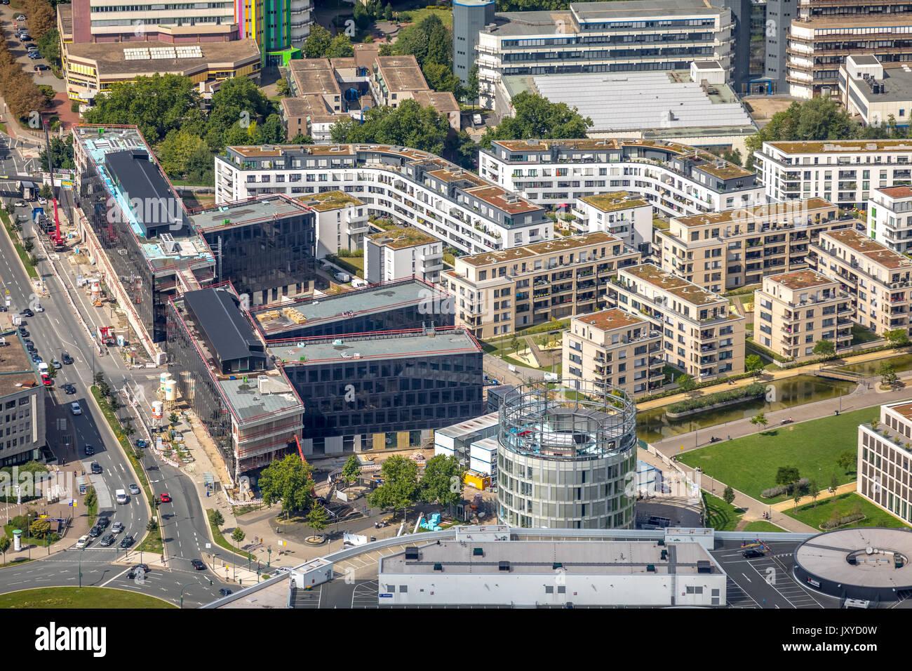 Funke Medien Campus Grüne Mitte Essen, Segerothstraße, Berliner Platz, Essen, Ruhrgebiet, Nordrhein-Westfalen, Deutschland - Stock Image
