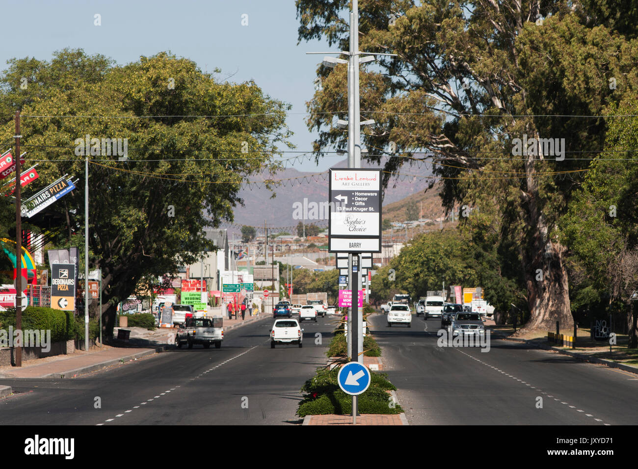 Robertson main road, Western Cape, South Africa. - Stock Image