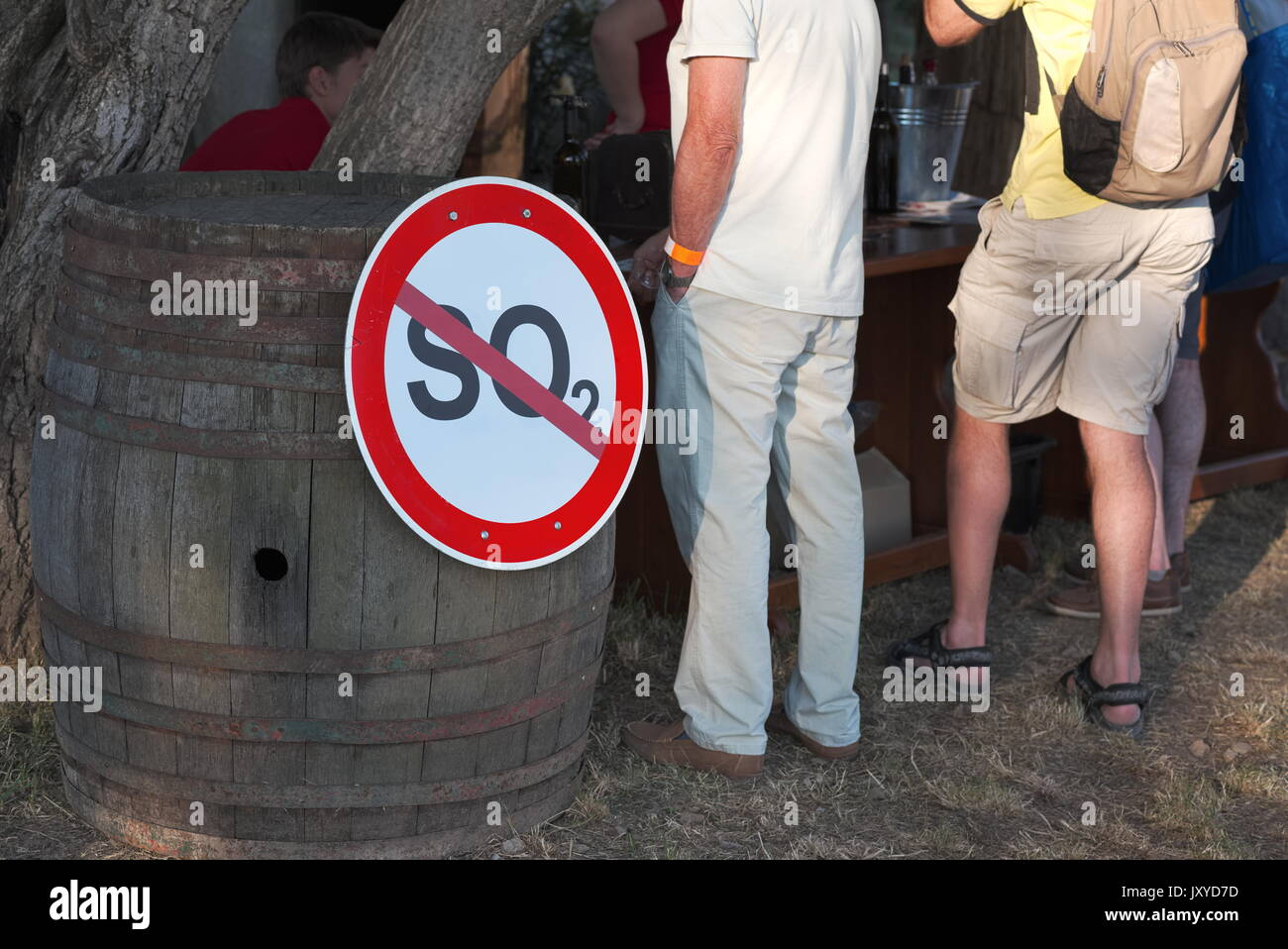 Sulfur Dioxide Prohibition Sign on a Big Barrel at Wine Festival - Stock Image