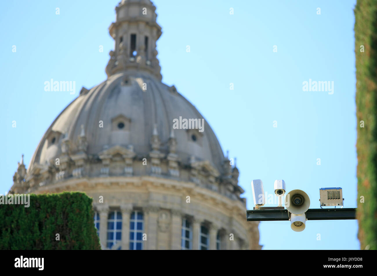 Safety camera sited in Montjuic - Stock Image