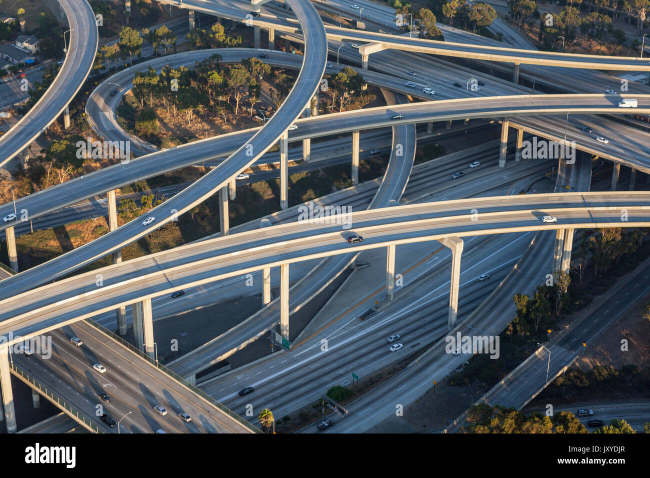 Aerial of Los Angeles 110 and 105 freeway interchange in Southern California. - Stock Image