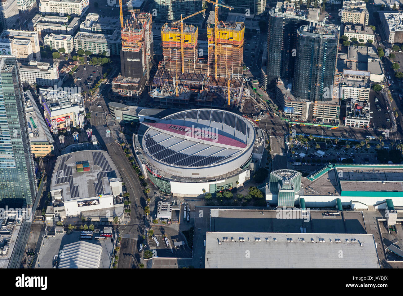 Los Angeles, California, USA - August 7, 2017:  Aerial view of Staples Center and neighboring construction projects. - Stock Image