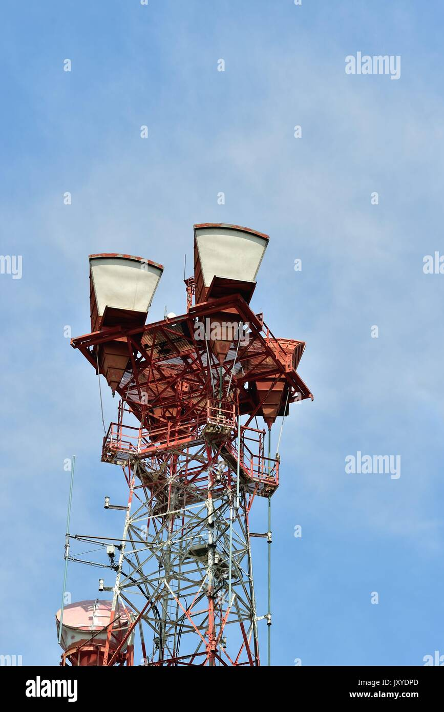 Cell tower, a common site on the American landscape, in suburban Chicago in Morton Grove, Illinois, USA. - Stock Image