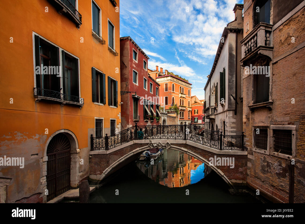 Quiet, residential canal in Venice, Italy. - Stock Image
