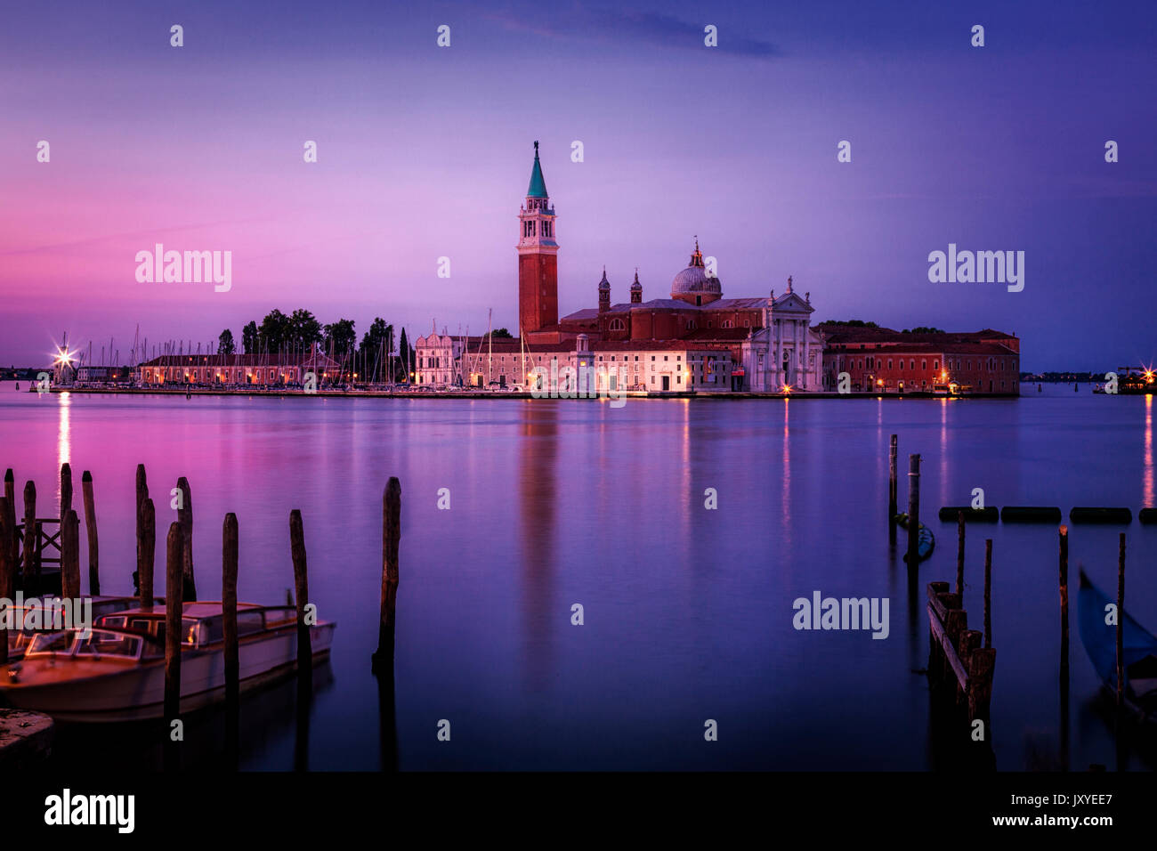 Early morning light over the island of San Giorgio Maggiore seen from the edge of St. Mark's Square in Venice, Italy. - Stock Image