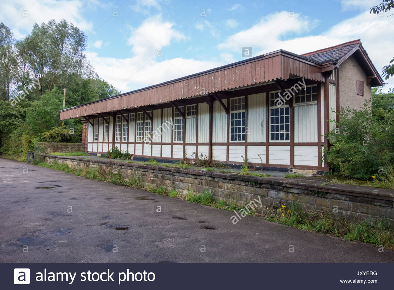 The dismantled railway and Railway Station at Halton, near Lancaster, UK - Stock Image