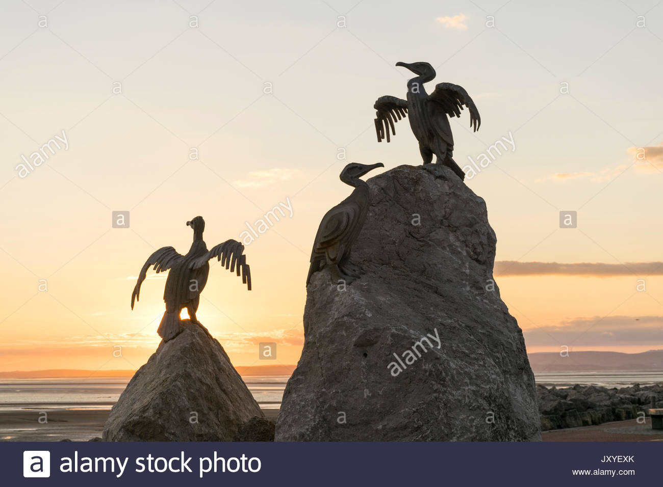 Sculpture of cormorants on Morecambe Promenade at sunset, part of the regeneration of the seaside resort - Stock Image