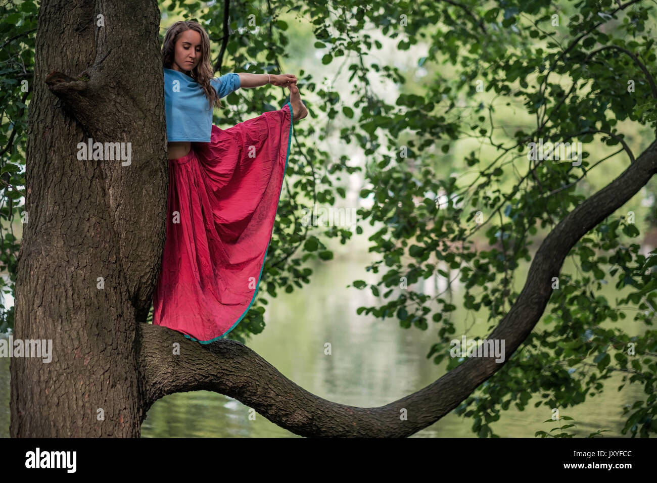 Caucasian woman standing in yoga balance Utthita Hasta Padangusthasana pose. She hold trank of tree - Stock Image