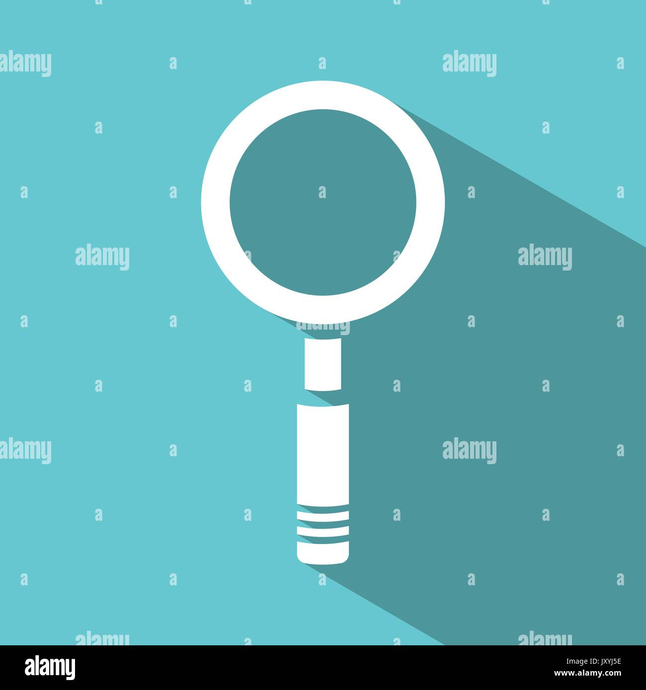 Magnifying glass icon on green background. Vector illustration - Stock Image