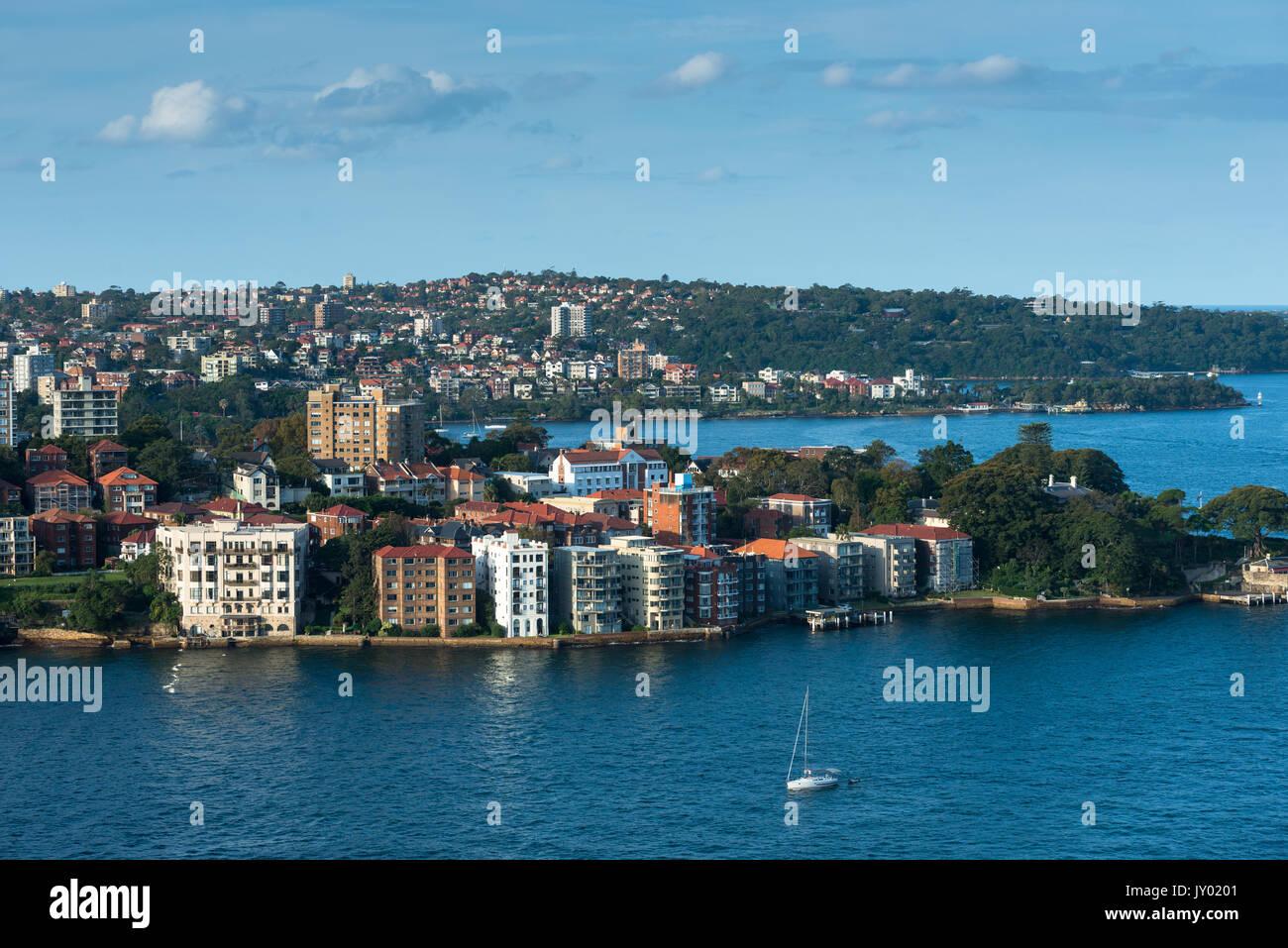 Views of Northern suburb of Kirribilli and beyond, seen from Sydney Harbour bridge. Sydney, Australia. - Stock Image