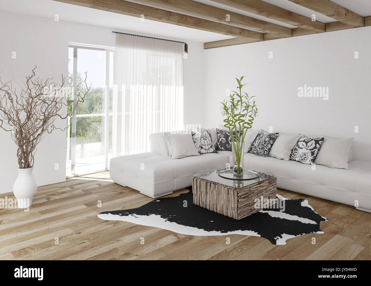 Modern airy bright stylish living room with wooden beams and light ...