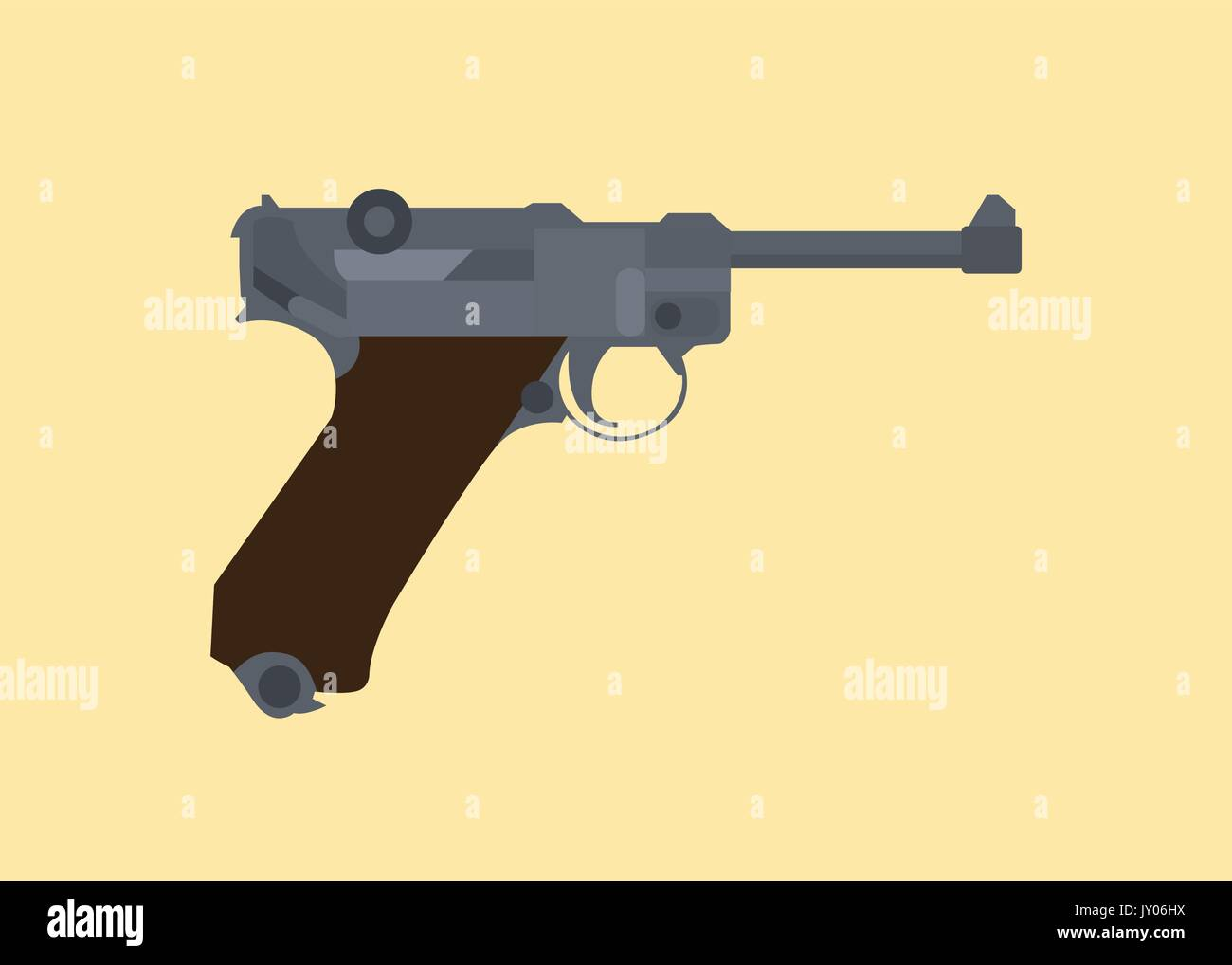 luger german ww2 world war 2 iconic pistols isolated vector - Stock Vector